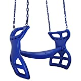 Swing Set Stuff Inc. Glider with Coated Chains & SSS Logo Sticker Playground Attachment, Blue