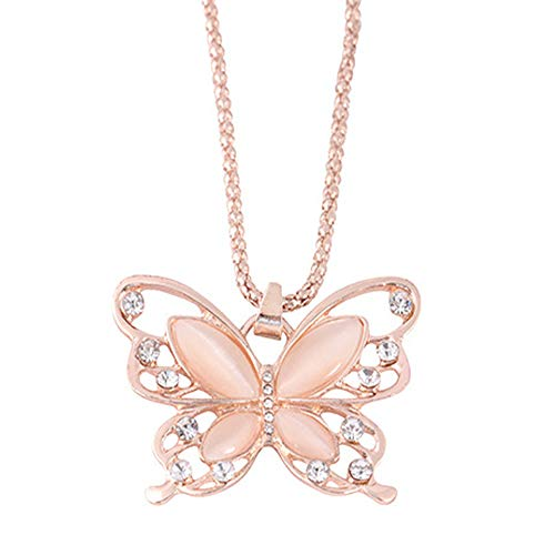 (Butterfly Necklace Rose Gold Opal Charm Torque Alloy Chain Pendant)