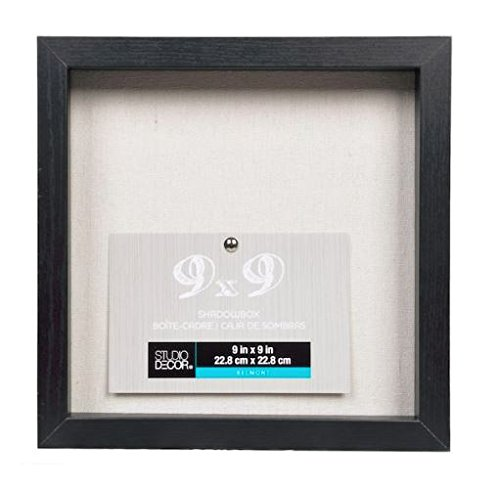 Studio Decor Heavy Duty Wood Frame 1'' Depth Shadow Box Display Case Nursery Wedding Graduation (Black, 9''x9'') by Studio Decor
