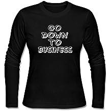 KUYUE Women's Go Down To Business Funny T-Shirt