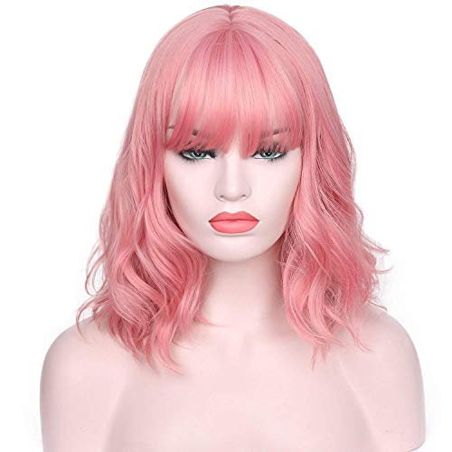 AISI HAIR Short Pink Wavy Bob Wig for Women with Air Bangs Synthetic Hair Wigs Pink Curly Cosplay Wig Shoulder Length Heat Resistant Fiber 14 Inches 180 Grams -