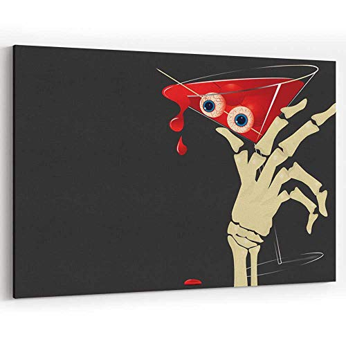 Halloween Blood Martini Canvas Art Wall Dector for Modern Home Decor Stretched-Framed Ready to -