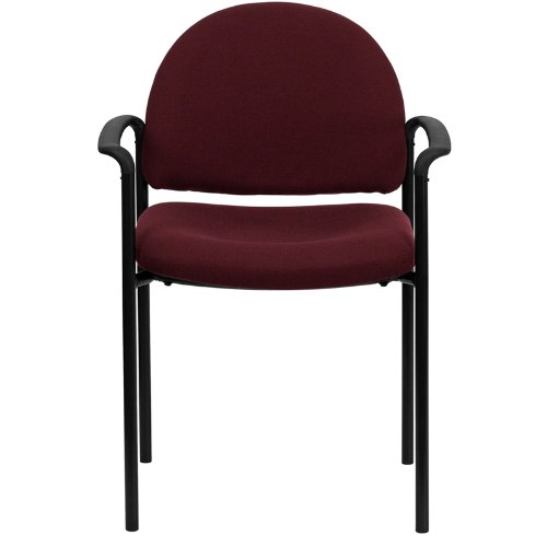 Burgundy FabricComfortable Stackable Steel Side Chair with Arms BT-516-1-BY-GG