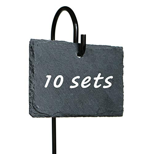"Fendio 10 Sets Natural Slate Plant Labels Signs (2.8"" × 3.9"") with 16.9"" High Metal Hanger Rod Stakes,Garden Labels Markers for Gardening, Green House, Outdoor, Pots, Planters, Vegetable, Herb"