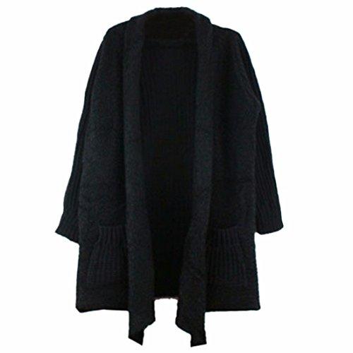 Las Mujeres Negro / Albaricoque Medio Suelta Moda Rebeca De La Capa Del Sueter De Invierno / Otono Negro