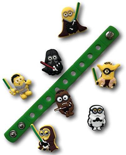 Jibbitz for Crocs Shoes by Nenistore| Cute Shoe Charms Plug Accessories for Crocs & Bracelet Wristband Party Gifts| Minions Star Wars (Set of 7 pcs) & 01 Silicone Wristband 7 Inches