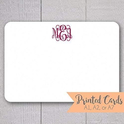 Monogrammed Note Cards 24pk Initialed Note Cards Personalized Flat Note Cards Printed Without Envelopes Nc 014