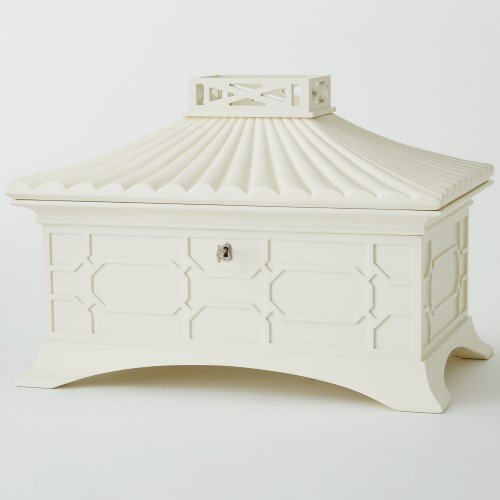 Modern Asian White Lacquer Pagoda Jewelry Box | Large Tiered Fretwork - Tabletop Pagoda
