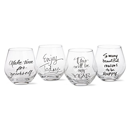 tag - Sentiment Stemless Wine Glasses, Perfect for All Wines and All Occasions, Clear, Set of 4 (3.75