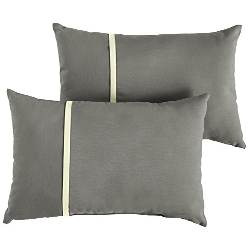 Mozaic AMPS113653 Sunbrella Outdoor Pillow, Canvas Charcoal and Canvas Natural by Mozaic