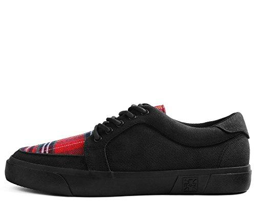 T.U.K. Shoes Negro Y tartán Lona Zapatillas de Enredadera VLK EU36/UKW3