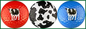 Woody's Cows Golf Balls (Red, Spots & Blue) Golf Ball Gift Set