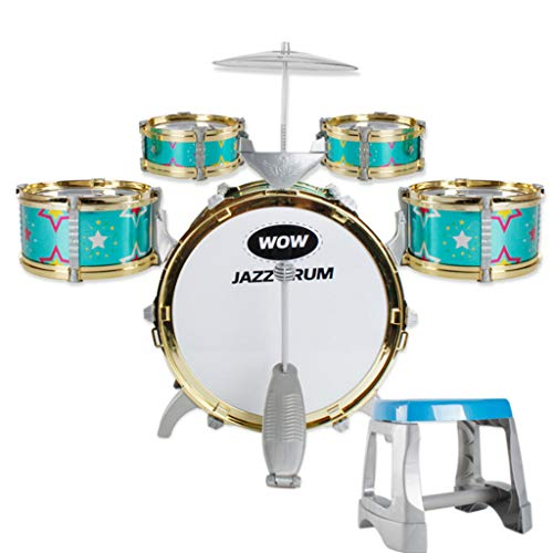 Vividen Children Toys Drums Beginner Baby Simulation Drum Kit Music to Knock Play Musical Instruments Kids Children Set Toy Instrument Pedal Stool (Green)