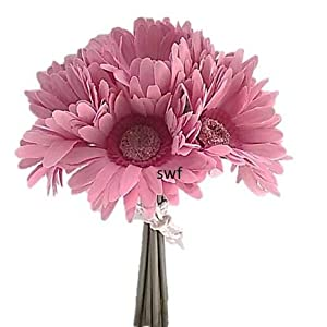 """10"""" Gerbera Gerber Daisy Bouquet Silk Artificial Wedding Bridal Flower 9pc (Pink) 70"""