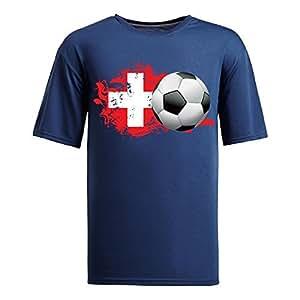 Custom Mens Cotton Short Sleeve Round Neck T-shirt,2014 Brazil FIFA World Cup switzerland navy by supermalls