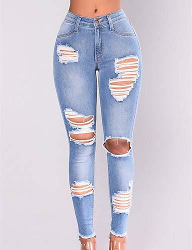 Light Blue Femme Unie Taille Jeans Couleur Slim YFLTZ Haute wA80TFq