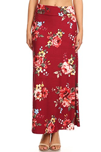 Casual High Waisted Solid/Printed Long Maxi Skirt/Made in USA Floral burgundy L by HEO CLOTHING
