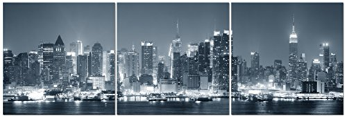 Canvas Wall Art Decor   24X24 3 Piece Set  Total 24X72 Inch   B W New York City Skyline   Large Decorative   Modern Multi Panel Split Canvas Prints For Dining   Living Room  Kitchen  Bedroom   Office