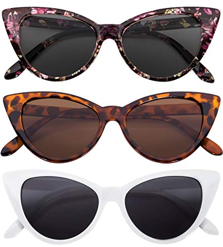 Leopard Vintage Sunglasses - 3 pairs Cat Eye Sunglasses Plastic Frame White Floral Leopard Vintage