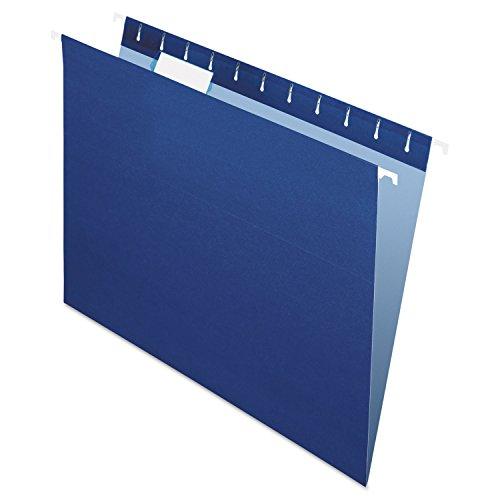 Pendaflex 81615 Colored Hanging Folders, 1/5 Tab, Letter, Navy, 25/Box - Pendaflex Colored Hanging