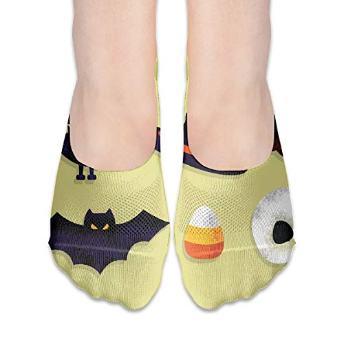 FriendEver No Show Socks,Cartoon Scary Halloween Casual Invisible Flat Socks,Breathable Anti-Odor Low Cut Women Cotton Sox,Non Slip Liner Sock -