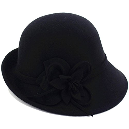Young_Me Women's Floral Trimmed Wool Blend Cloche Winter Hat (Model B - Black) (Trimmed Wool)