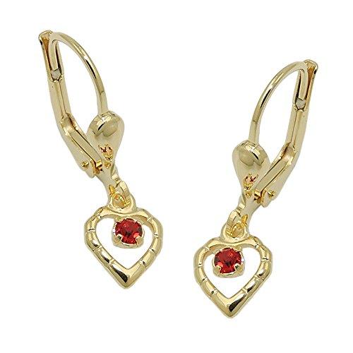Brisur Herz mit Glasstein rot, 8Kt GOLD