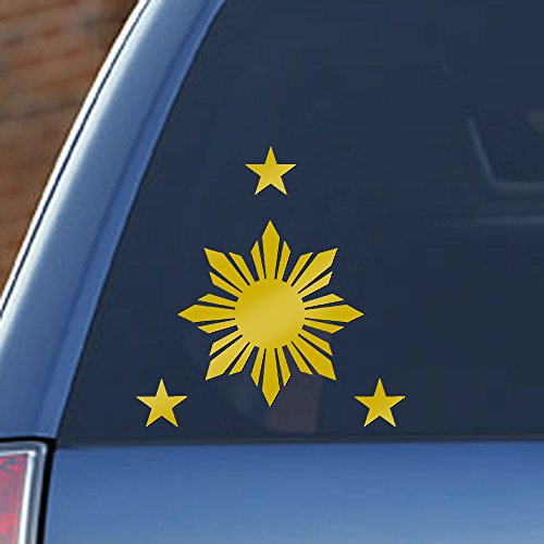 - Philippines Flag 1 Sun and 3 Stars - Filipino Decal, sticker in metallic gold for Car Window, Laptop, Mirrors and more