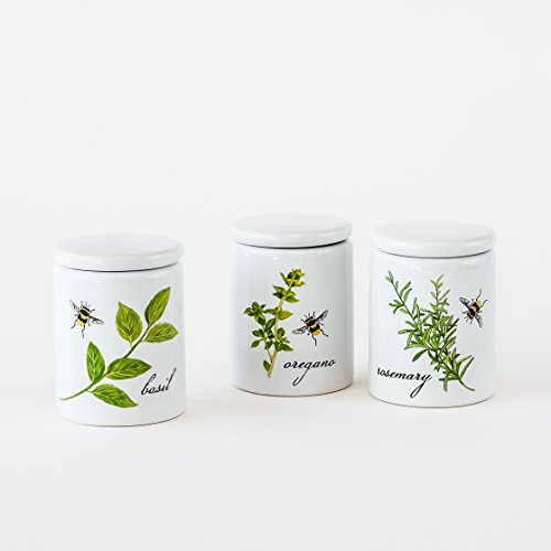 One Hundred 80 Degrees Herb Spice Jars, 3 Asst, Stoneware, 4