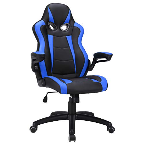 Chairs Leather Blue Office - LasVillas Ergonomic High Back PU Leather Office Chair Gaming Chair Racing Chair with Adjustable Armrest (Blue)