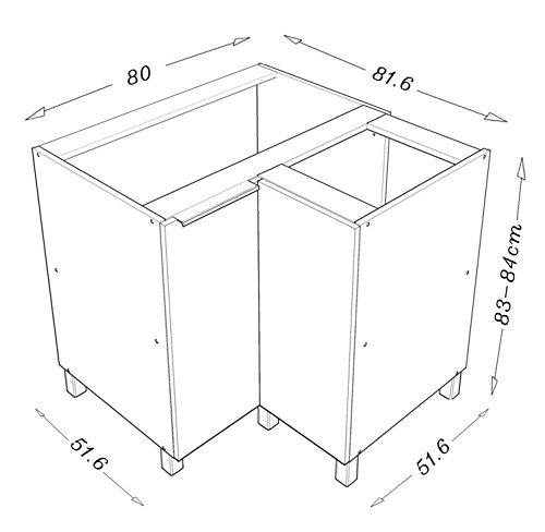 berlioz creations cg8ba meuble d'angle bas cuisine avec double ... - Meuble D Angle Bas Cuisine