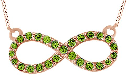 AFFY Round Cut Simulated Green Peridot Infinity Pendant Necklace In 14K Solid Rose Gold (0.5 Ct)
