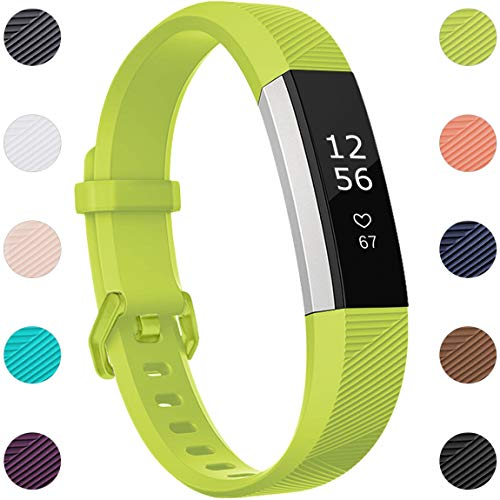 Maledan Replacement Bands Compatible for Fitbit Alta, Alta HR and Fitbit Ace, Newest Accessories Wristbands Sport Strap with Secure Metal Buckle for Fitbit Alta HR/Alta/Ace, Small, Lime