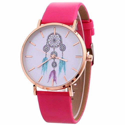 Gotd Women Girls New Pattern Quartz Watch Leather Strap Belt Table Watch (Hot Pink)