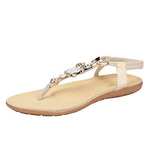 Womens Hot Selling Comfort Sparkle Crystal T-Strap Flip Flop Flat Dress Sandals Beige 0nlRW