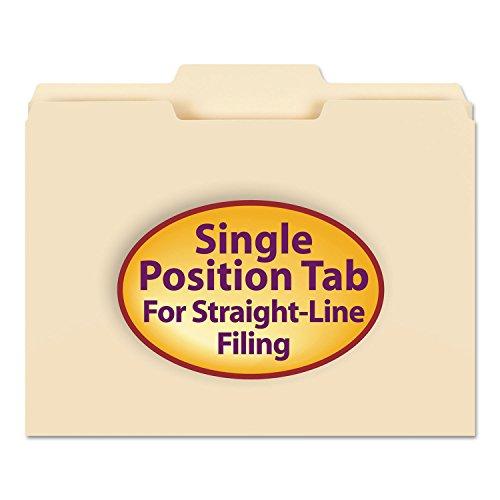 Single Top Manila Folders - Smead 10332 File Folders 1/3 Cut Second Position One-Ply Top Tab Letter Manila 100/Box