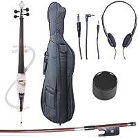 Cecilio CECO-3WH Ebony Fitted Silent Electric Cello, Style 3, Metallic White, 4/4 (Full Size)