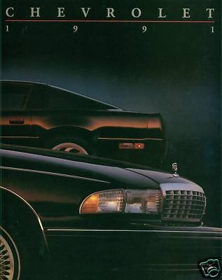 Lumina Coupe - 1991 CHEVROLET PASSENGER CARS FULL-LINE PRESTIGE COLOR SALES BROCHURE: CAPRICE, LUMINA SEDAN & COUPE, LUMINA APV, CORSICA, BERETTA, CAVALIER, CAMARO and CORVETTE - USA - THICK 108 PAGES - EXCELLENT !!