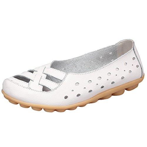 Vogstyle Damen Neu Hohl Mokassins Flach Loafer Slipper Schuhe Style 2-Weiß