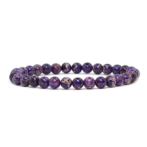 Purple Jasper Rock - Dyed Purple Sea Sediment Jasper Gemstone 6mm Round Beads Stretch Bracelet 6.5