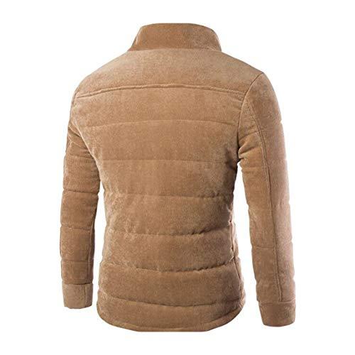 Giacca Cappotto Uomo Caldo Monopetto Moda A Xl Maschile up Pocket Design Colletto Inverno Stand Addensare Khaki Zacard Coste Autunno Abbigliamento Velluto Ew0zUvq