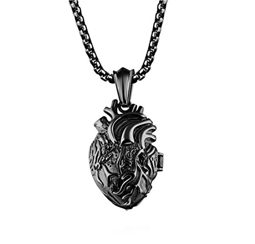 LBFEEL Stainless Steel Anatomical Organ Heart Pendant Necklace for Men With a Gift Box (Black) Black Heart