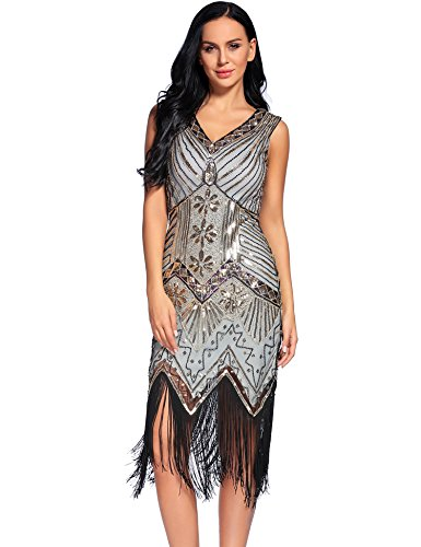 NeeMee Women's 1920s Gastby Sequin Embellished Fringed Flapper -