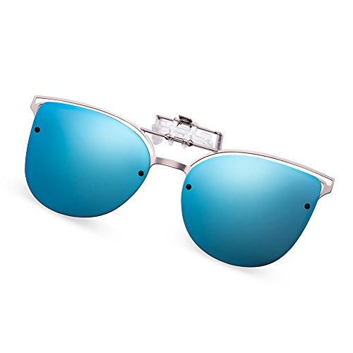 WELUK Polarized Clip-on Flip up Cat Eye Sunglasses Metal Frame for Prescription Glasses