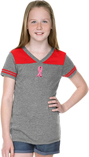 Embroidered Pink Ribbon Small Print Girls Football Shirt, Grey/Red Large - Embroidered Jersey Red Football