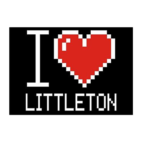 Idakoos - I love Littleton pixelated - US Cities - Sticker Pack (Fun City Littleton)