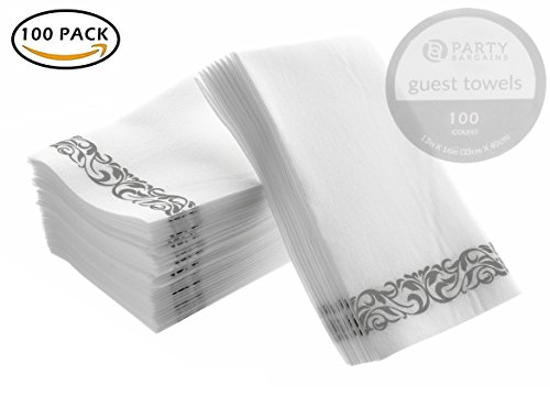 Party Bargains Disposable Linen-feel Paper Guest Towels | Durable & Decorative Cloth-like Soft Bathroom Hand Napkins for Dinner, Wedding or Cocktail Party | White & Silver 100 Count (White Dinner And Napkins Blue)