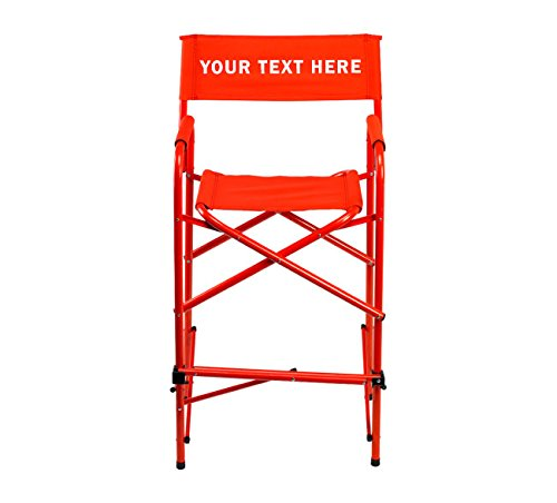 "PERSONALIZED EMBROIDERED All Aluminum 30"" Tall Directors Chair by E-Z Up - Red"