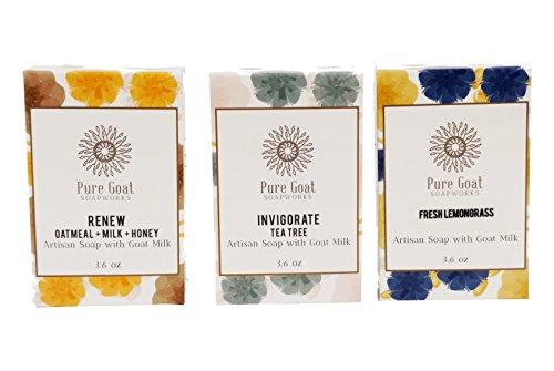 Pure Goat Soapworks Oatmeal, Milk, & Honey, Fresh Lemongrass, and Tea Tree Goat Milk Soap 3-pack ()