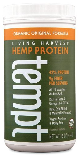 Living Harvest Organic Hemp Protein Powder, Original Flavor, 16-Ounce Plastic Container